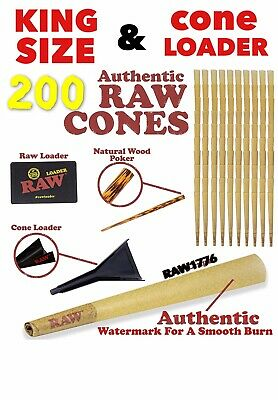 RAW classic KING Size Pre-Rolled Cones (200 Pack)+RAW KING size cone loader