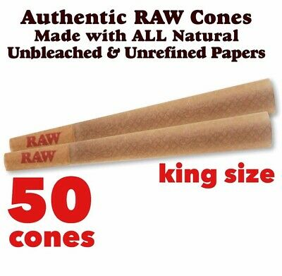 RAW Classic King Size Authentic Pre-Rolled Cones with Filter - 50 Pack