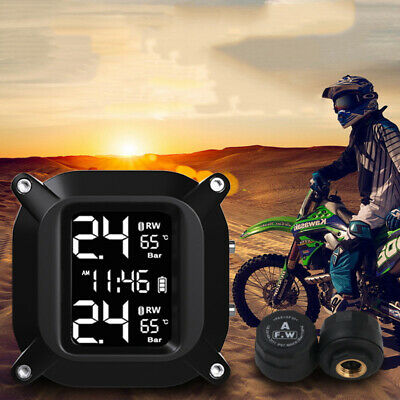 Wireless LCD Motorcycle TPMS Tire Pressure Monitor System With 2 Sensors