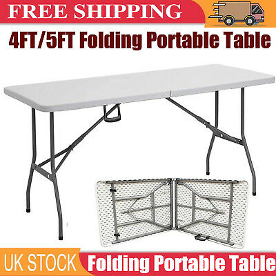 5Ft 4Ft Camping Catering Heavy Duty Folding Table Trestle Picnic Bbq Party Camp