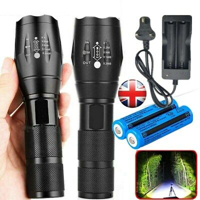 2Set 900000LM Flashlight LED T6 Tactical Rechargeable Torch Lamp+Battery+Charger