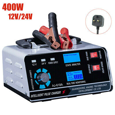 Heavy Duty Smart Car Battery Charger Automatic Pulse Repair Trickle 12V/24V LCD