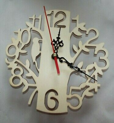 Fabulous Wooden clock making blanks to decorate, filigree number and woodpecker