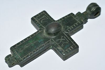 Byzantine Empire Bronze Enkolpion Reliquary Cross Christ And Mary 9Th–13Th C.