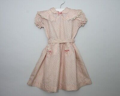 """Vintage 1950s 1960s `girls Dress Peach acetate 6-8 years 26"""" Chest (AG184)"""
