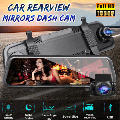 "9.66"" Car DVR Touch Dash Cam Rearview Mirror Lens HD 1080P Camera Video Recorder"