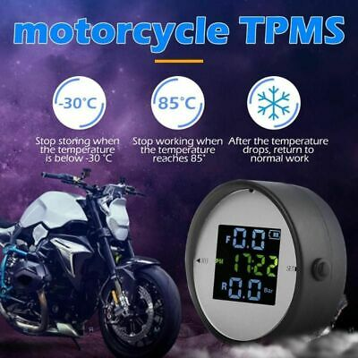 LCD Motorcycle TPMS Tire Pressure Monitor System w/2 External Sensor Wireless