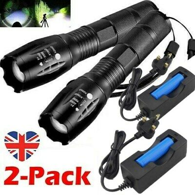 Powerful 900000LM LED Torch T6 Tactical Police Rechargeable Zoomable Flashlight