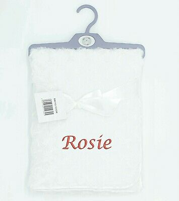 Baby Girl Boy Personalised Blanket Embroidered Name Pink Blue White
