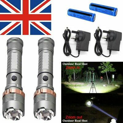 2 x 900000LM Rechargeable LED Flashlight T6 Tactical Police Torch Lamp+Batt+Char