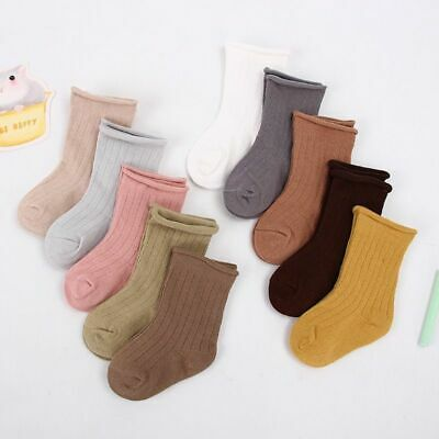Toddler Cotton Socks 5pairs Kids Boys and Girl Short Solid Color Ribbed Socks