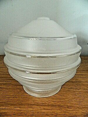 Vintage Art Deco Tchécoslovaquie Opaque Clear Glass Lamp Shade 4 Avaliable