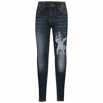 Kids Boys Jeans Unicorn Dab Denim Black Stretchy Pants Slim Fit Trousers 5-14 Yr
