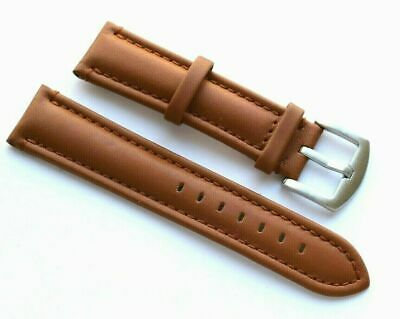 22mm Brown Leather Watch Replacement Band Steel Brushed Buckle - Citizen 22 Mens