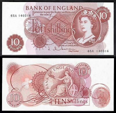 Bank of England, Hollom, 10 shillings, (1963), first series, 65A 140316 (Dugg...