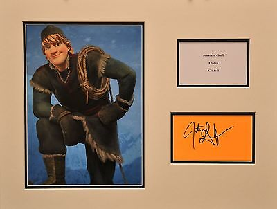 KRISTOFF VOICE JONATHAN GROFF FROZEN ACTOR EXCELLENT SIGNED WHITE CARD