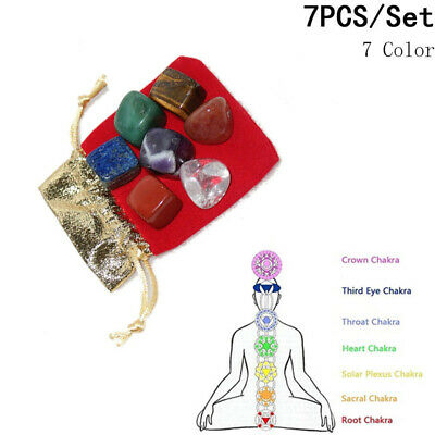 7 Chakra Natural Crystal Healing Stone Set 7 Tumbled Stones & Carry Pouch