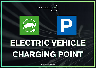 Electric Car Ev Charging Station Printed Sign Hard Metal High Quality New Print
