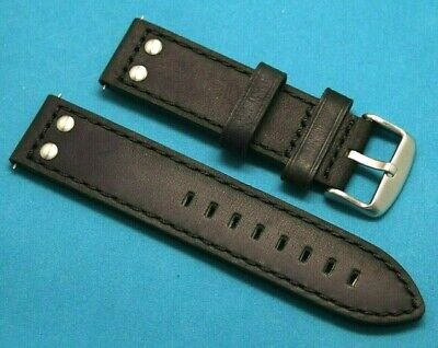 22mm Black Rivet Style Crazy horse Leather Replacement Watch Band - TW Steel 22