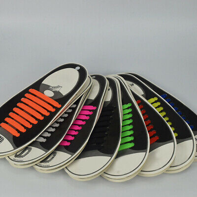 16* Multicolor No Tie Shoelaces Rubber Silicone Slip Easy Sneaker Shoe Laces Set