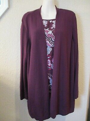 CHICO'S Sz 2 PC Sweater Twin-Set: Burgundy/Paisley Print Open Tunic +Tank Top