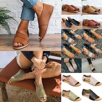 Womens Peep Toe Buckle Flat Sandals Summer Holiday Beach Boots Shoes Size 3.5-8