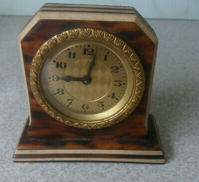 Antique  / Vintage Small Gilt Faced Clock - Needs Work