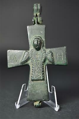 Byzantine Empire Bronze Pectoral Enkolpion Reliquary Cross Mary Jesus 9Th–13Th C