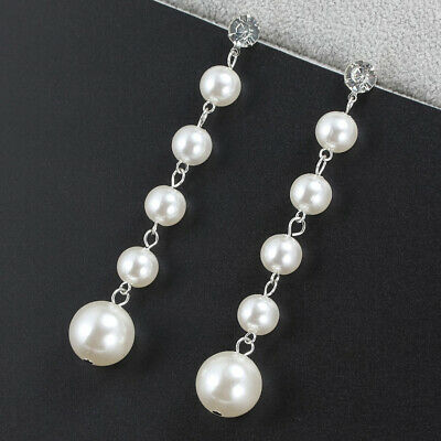 Women Bohemian Simulated Pearl Dangle Crystal Long Drop Earrings Fashion Jewelry