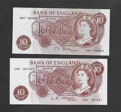 2 X Bank Of England - Old 10 Shilling Notes  - Condition  Very Good To Excellent