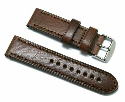 22mm Brown Oily Cowhide Leather Replacement Watch Strap Steel Stainless Buckle