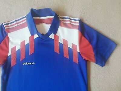 Rare France Adidas Originals Retro Vintage Home Football Shirt Medium