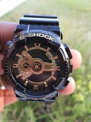 Men's Casio G-Shock Classic Strap Watch with Black and Gold-Tone Dial GA110GB-1A