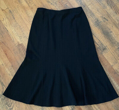 Eileen Fisher Black Wool Blend Knit Midi Length Flare Skirt Sz L Large