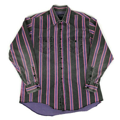 Vintage Wrangler Distressed Gray Pink Purple Long Sleeve Button Down Shirt