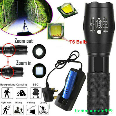 900000LM LED Flashlight Rechargeable Tactical Police Torch Lamp+Battery+Charger