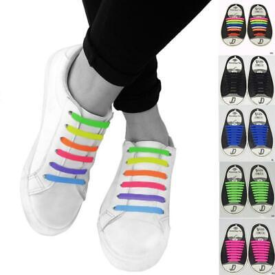 16pc Elastic No Tie Shoelaces Silicone Easy Shoe Laces Trainers Shoes Adult Kids