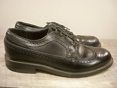 Vintage Weyenberg Black Leather Men's Oxfords Wing Tips Lace Up Dress Shoes 8