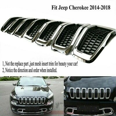 Grill Ring Inserts Meyffon Front Grille Inserts Mesh Honeycomb for 2014-2016 Jeep Grand Cherokee 7PC Black Grill Ring