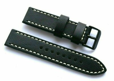 22mm Black/White Leather Watch Replacement Strap -  TW Steel 22 Black Tone