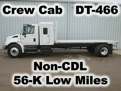 4300 Dt466 Automatic  Crew Cab 16-Ft Aluminum Flat Stake Bed Body Truck 56-K Mi
