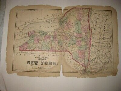 Antique 1873 New York State City Handcolored Map Long Island Railroad Brooklyn