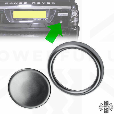 Black Chromed Tailgate Boot Release Button Cover /& Rubber Seal Range Rover Sport