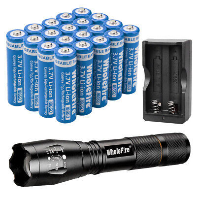 4pc 18650 Li-ion Battery Rechargeable Batteries LED Flashlight US Dual Charger