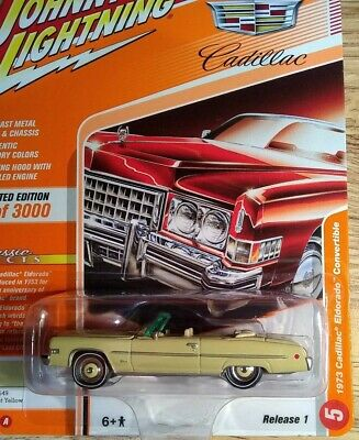 1973 Cadillac Eldorado Cabrio Yellow *RR* Johnny Lightning Classic Gold 1:64 OVP