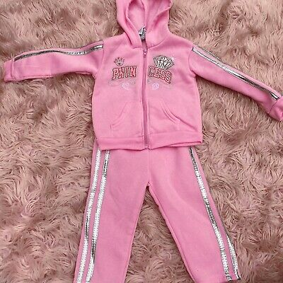 GIRLS DIVA PINK FLEECE HOODED 3PIECE JOGGING SET 12M,18M,24M HUGS  /& KISSES#FRBB
