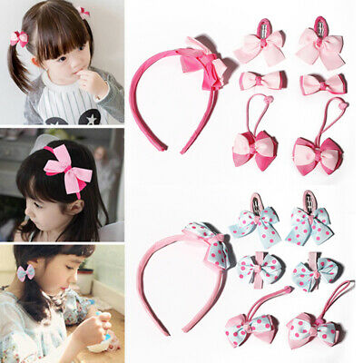 7 Piece Pink Bow Hair Set Childrens Hair Accessory Clips Bobbles Headband Bendie