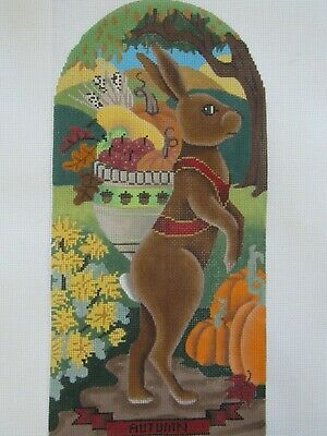 Free US Shipping!!! Needlepoint Handpainted Brenda Stofft Art Nouveau Yellow Flowers 10x10
