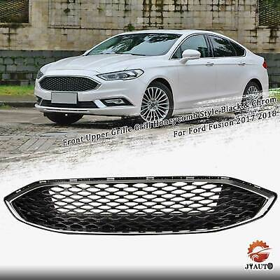 Front Bumper Grille Honeycomb For 2017 2018 Ford Fusion Chrome & Black