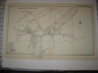 Vintage Antique 1917 Smithtown Branch Long Island New York Handcolored Map Rare